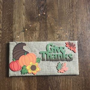 Give Thanks Thanksgiving Fall Hanging Sign